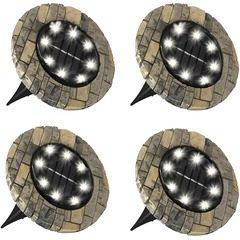 Set 4 lampi solare cu aspect de piatra cu 8 LED-uri si senzor de lumina